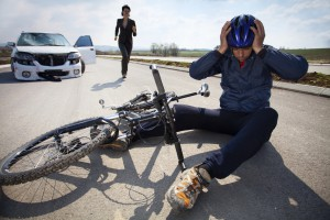 Car and bicycle accident.